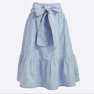J. Crew   Striped Midi Tie Waist Bow Skirt Sz 2